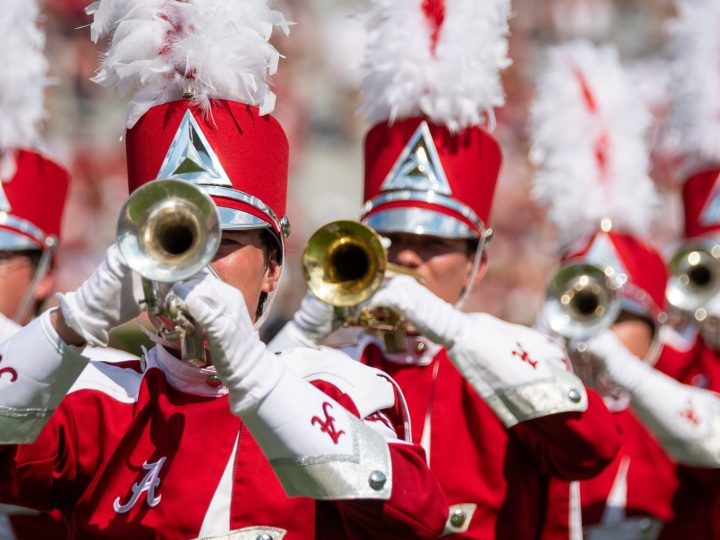 Alabama's Million Dollar Band plays the Crimson Tide fight song.