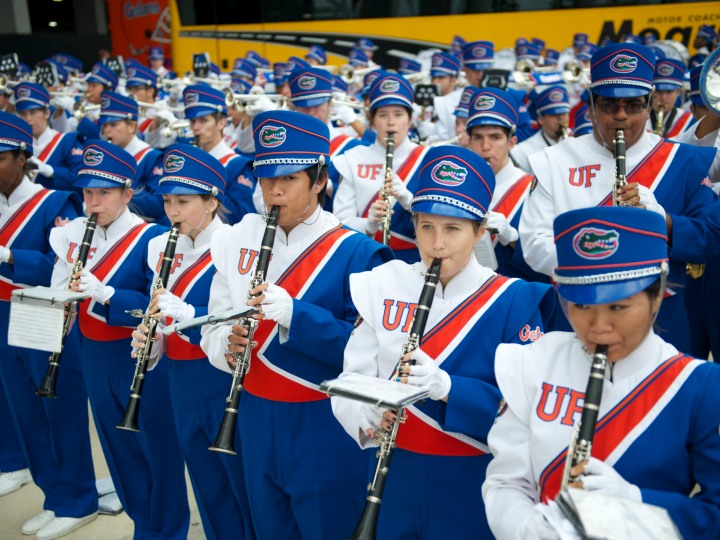 Florida Gators marching band plays fight song
