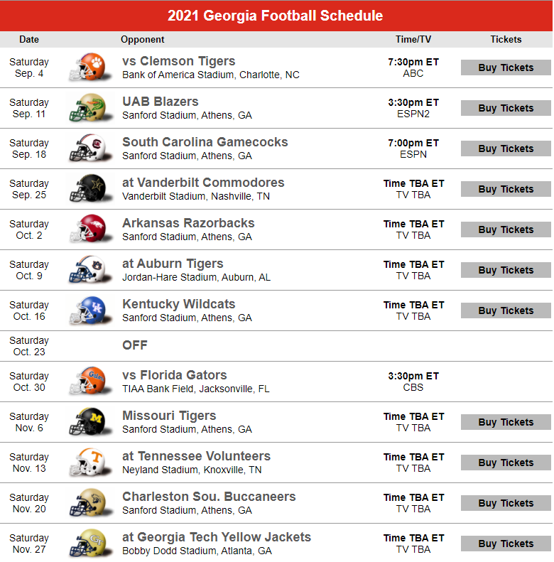 Georgia 2021 football schedule